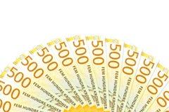 Unos nuevos 500 billetes de banco de la corona noruega con el espacio de la copia fotos de archivo libres de regalías
