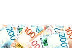 Unos nuevos 100 y 200 billetes de banco de la corona noruega foto de archivo libre de regalías