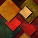 Unoszący się kwadraty, wzory z kwadratami w, różnych czerwieni, koloru żółtego i zieleni brzmieniach, Zdjęcie Stock