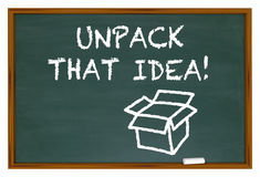 Unpack That Idea Understand Meaning Chalk Board Royalty Free Stock Photography