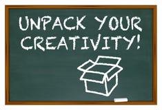 Unpack Your Creativity Chalk Board Imagination Stock Image