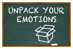 Unpack Your Emotions Feelings Chalk Board Words Royalty Free Stock Photography