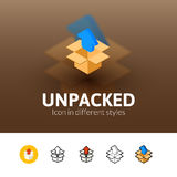 Unpacked icon in different style Royalty Free Stock Photos