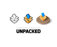 Unpacked icon in different style Royalty Free Stock Photo