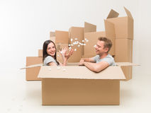 Unpacking is allways fun Royalty Free Stock Images