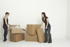 Unpacking boxes Stock Photo