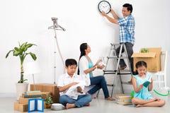 Unpacking family Stock Image