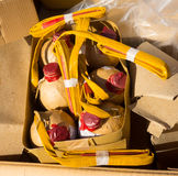 Unpacking fireworks from cardboard boxes Stock Photo