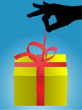Unpacking the gift Royalty Free Stock Photo
