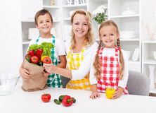 Unpacking the groceries - preparing a meal Royalty Free Stock Images