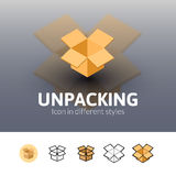 Unpacking icon in different style Stock Images