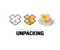Unpacking icon in different style Royalty Free Stock Image
