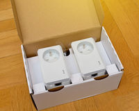 Unpacking of new set of Power-line communication PLC Stock Image