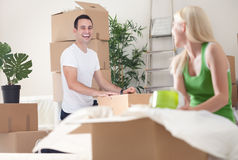 Unpacking process in new home Stock Image