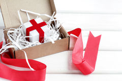 Unpacking a special gift Stock Photography