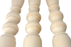 Unpainted banisters. Are made of birch wood Stock Photography