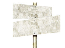 Unpainted Tin Road Signs Isolated On White Background Royalty Free Stock Photography