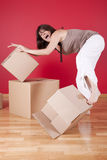 Unpaking stress after the relocation Royalty Free Stock Photos