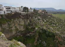 Unparalleled view of Ronda historic quarters on cliffs Stock Image
