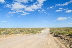 Unparved-Straße in der Pampawüste bis Horizont Stockfotografie