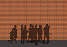Unpassable limits. Shadow of a group of children walking along an impassable red brick wall Vector Illustration