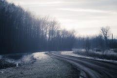 Unpaved дорога в замороженном ландшафте Стоковая Фотография RF