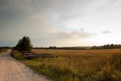 Unpaved проселочная дорога и поле Стоковое фото RF