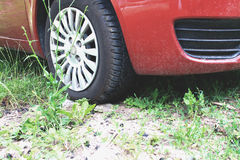 Unpaved and the bad road for car Royalty Free Stock Photo