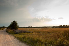 Unpaved country road and field Royalty Free Stock Photo