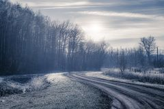 Unpaved road in frozen landscape Stock Image