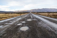 Unpaved road on the way to Torres Del Paine National Park in Chile. Patagonia Stock Photo