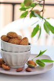 Unpeeled almonds nuts Stock Photography