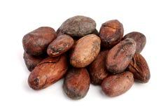 Unpeeled cacaoboon op witte macro hoogste mening wordt geïsoleerd die als achtergrond Stock Afbeeldingen