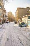 Unpeeled snowy streets of Pomorie, Bulgaria, winter 2017 Stock Photos