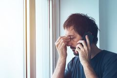 Unpleasant phone call Stock Photos