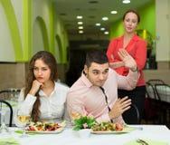 Unpleased para w restauraci Zdjęcia Stock
