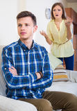 Unpleased person criticizing spouse Stock Photography