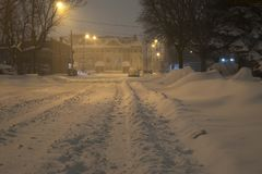 Unplowed city street during heavy snowstorm, Toronto, Ontario, Canada. royalty free stock photo