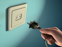 Unplug. Male hand holding an electricity plug in front of a wall socket. Digital illustration Stock Photo