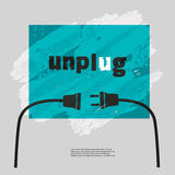 Unplug motivation banner. Motivation Quote Unplug. Typography slogan Poster Concept. Idea for motivating poster, banner with slogan, quotation, logo, flyer, web Stock Image