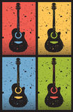 Unplugged. Pop-art style illustration of acoustic guitars, heavily distressed Royalty Free Stock Photography