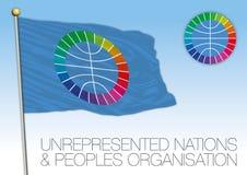 UNPO-flagga, Unrepresented nationer och folkorganisation stock illustrationer