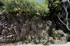 The  unpolished side of slickenside rock at Corona Heights Park, San Francisco. royalty free stock photo