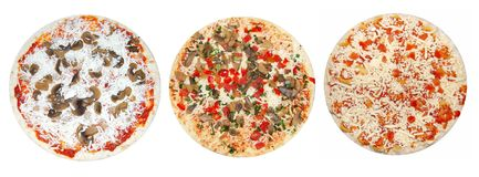 Unprepared pizzas Royalty Free Stock Photography