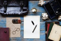 Unprinted paper and old objects. Stiilife photo unprinted paper and old objects Stock Photo
