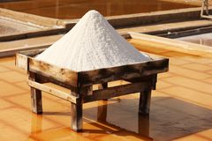 Unprocessed salt. Salt board and unprocessed salt in a terrace from a tradicional mine located in Rio Maior - Portugal Royalty Free Stock Images