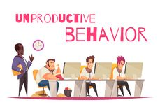 Unproductive Behavior Concept. With overeating and gluttony symbols flat vector illustration stock illustration