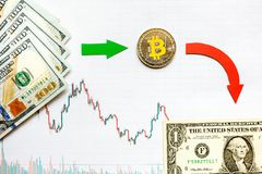 Unprofitable investment of depreciation of virtual money bitcoin. Green red arrow, silver bitcoin and dollars go down on paper stock photo