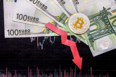 Unprofitable investment of depreciation of virtual money bitcoin. Red arrow, silver bitcoin and euro go down on paper forex chart stock photo