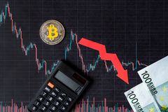 Unprofitable investment of depreciation of virtual money bitcoin. red arrow, silver bitcoin and euro banknotes go down on paper stock image